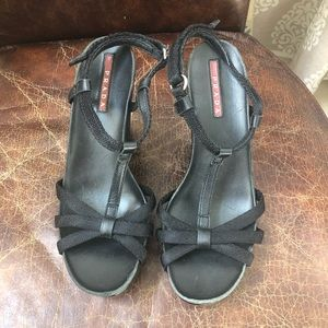 Prada black T strap wedges sandals 6.5